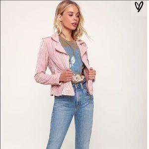 BB DAKOTA pink crushed velvet moto jacket size S